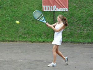 Girl Playing on Outdoor Courts