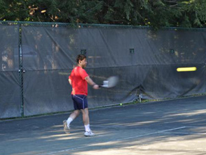 Man Playing on Outdoor Courts